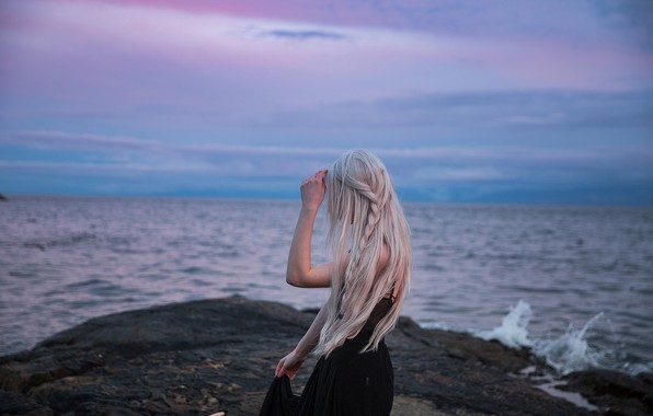 Picture sea, girl, blonde, long hair