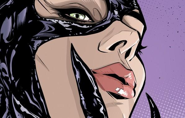 Picture girl, fantasy, green eyes, comics, lips, face, artwork, mask, costume, fantasy art, DC Comics, Catwoman, …