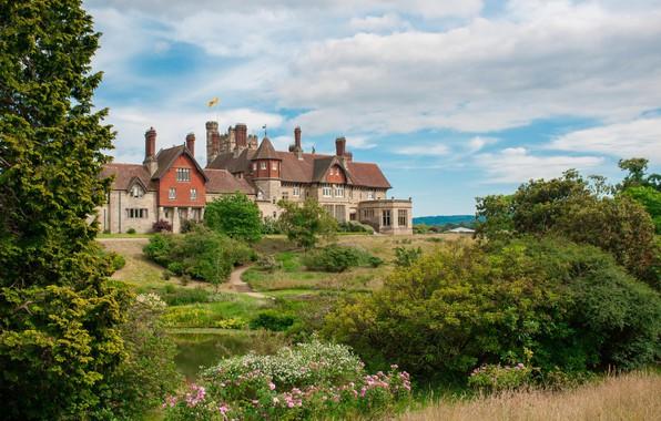 Picture castle, England, garden, architecture, West Sussex, Midhurst, Cowdray House