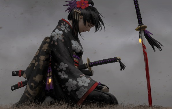 Picture sadness, girl, decoration, pose, weapons, Japanese, art, profile, kimono