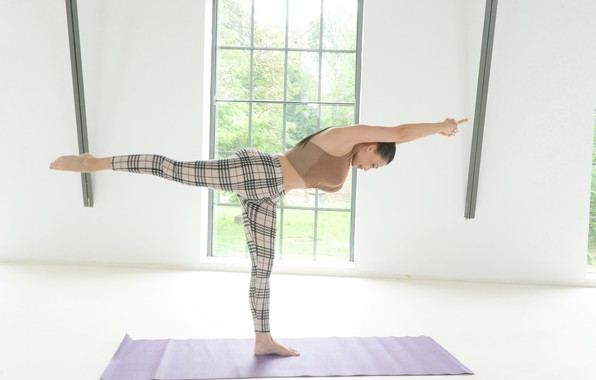 Picture girl, pose, yoga, Mat, stand