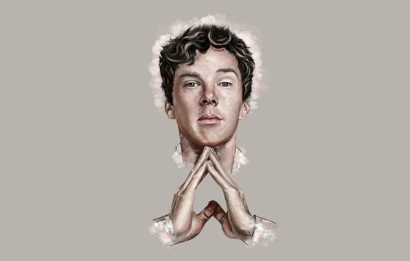 Picture look, minimalism, hands, art, Benedict Cumberbatch, Benedict Cumberbatch
