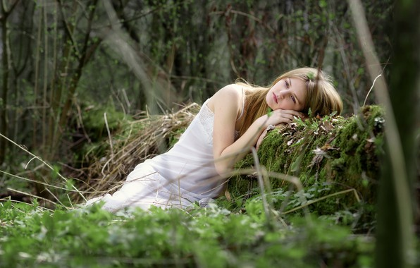 Picture forest, girl, reverie, pose, blonde