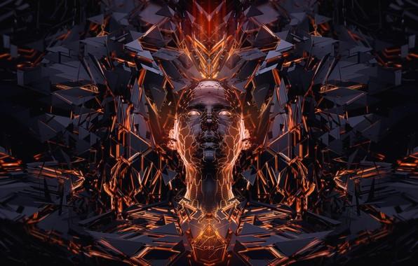 Picture face, graphics, black, orange, face, 3d art