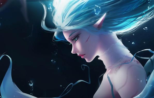 Picture Girl, Fantasy, Anime, Ocean, Elf