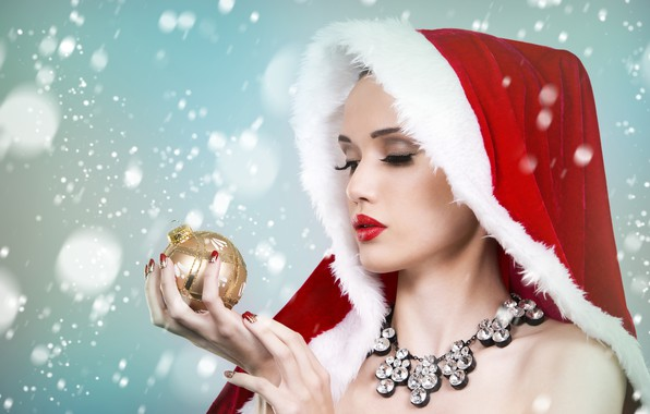 Picture girl, snowflakes, face, background, holiday, toy, new year, Christmas, ball, necklace, hands, makeup, hood, maiden, …
