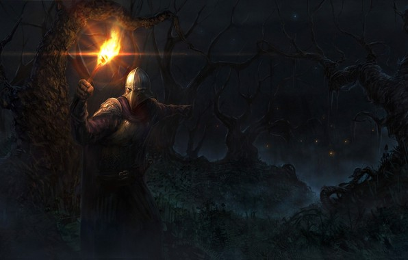 Picture forest, trees, night, fire, people, armor, mask, fantasy, torch