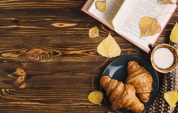 Picture autumn, leaves, colorful, Cup, book, wood, background, autumn, leaves, cup, book, growing, croissant, milk
