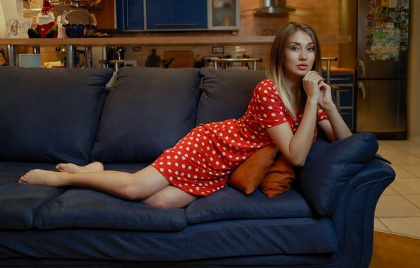 Picture look, girl, pose, sofa, feet, polka dot, hands, dress, red dress, Andrei Filonenko