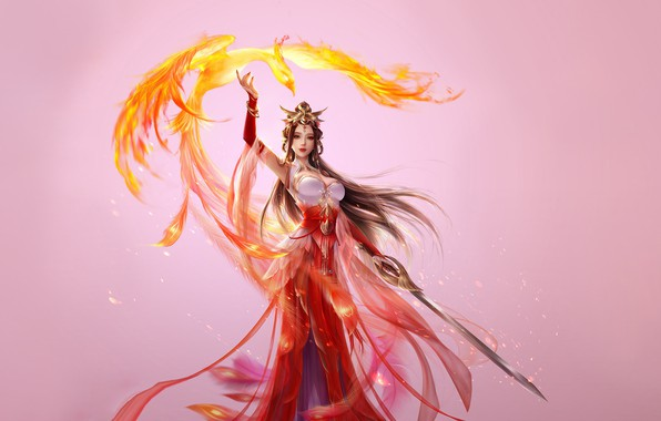Picture Girl, Fantasy, Beautiful, Art, Asian, Style, Phoenix, Illustration, Asia, Sword, Characters, Dress, 3Q STUDIO
