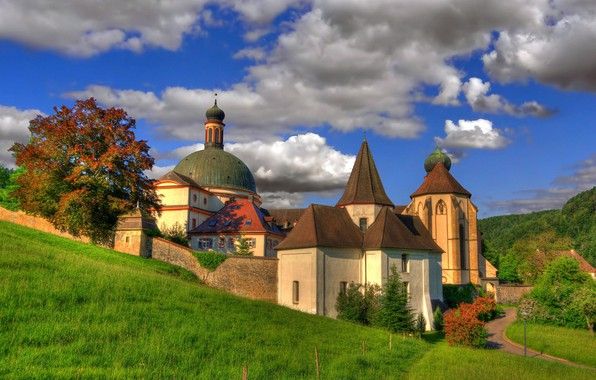 Picture clouds, Germany, architecture, the monastery, Germany, Baden-Württemberg, Baden-Württemberg, Abbey, Munstertal, Muenstertal, St. Trudpert Abbey