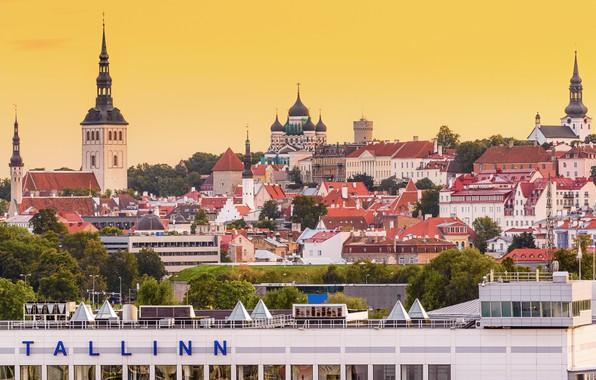 Picture building, roof, Estonia, Tallinn, panorama