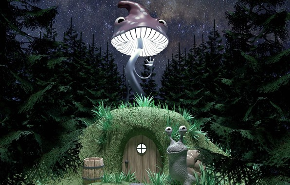 Picture comfort, house, mushroom, snail, hill, hi, 3dmax, coronarender, night Wallpaper, starry forest