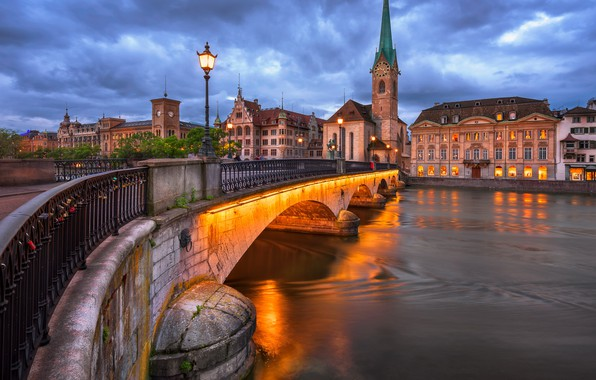 Picture bridge, the city, river, building, tower, home, the evening, Switzerland, lighting, lights, Church, Zurich, Limmat