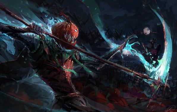 Picture night, monster, mouth, Halloween, the battle, the full moon, art, death scythe, evil pumpkin, Jason …