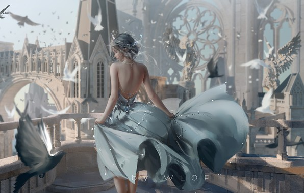 Picture fantasy, dress, birds, castle, elf, digital art, artwork, architecture, princess, fantasy art, jewelry, balcony, doves, …