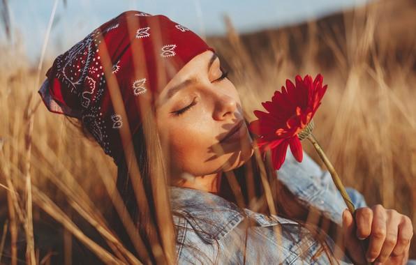Picture field, flower, girl, the sun, photo, mood, model, shadow, Milenko Dilas
