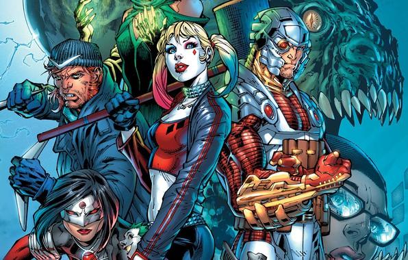 Picture fantasy, monster, comics, artwork, mask, superheroes, fantasy art, creature, Cyborg, Harley Quinn, Suicide Squad, Dc …