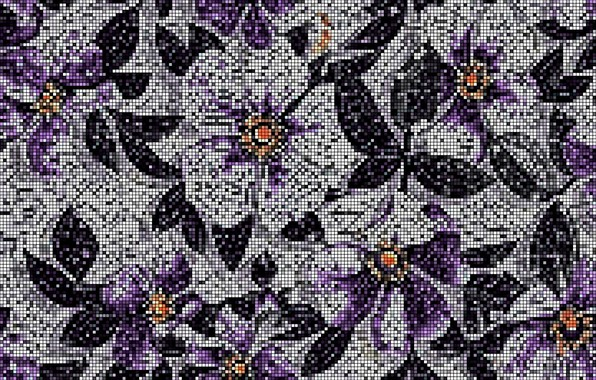 Picture mosaic, figure, texture, floral pattern, mosaic tile, wall mural