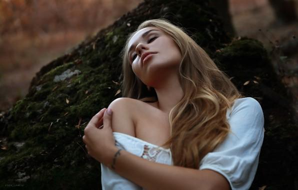 Picture girl, pose, mood, hair, hand, shoulder, Christina, closed eyes, Denis Lankin
