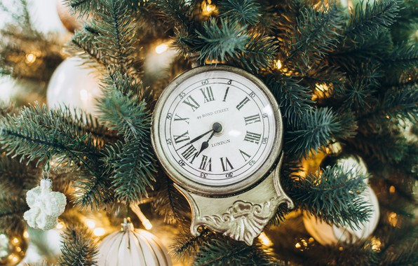 Picture decoration, watch, tree, New Year, Christmas, Christmas, New Year, decoration, xmas, Merry, fir tree