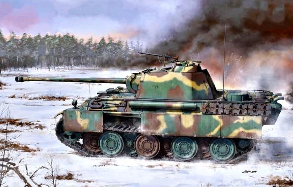 Picture Smoke, Germany, Snow, Tank, Panther, Average, Pz.Kpfw.V ausf G