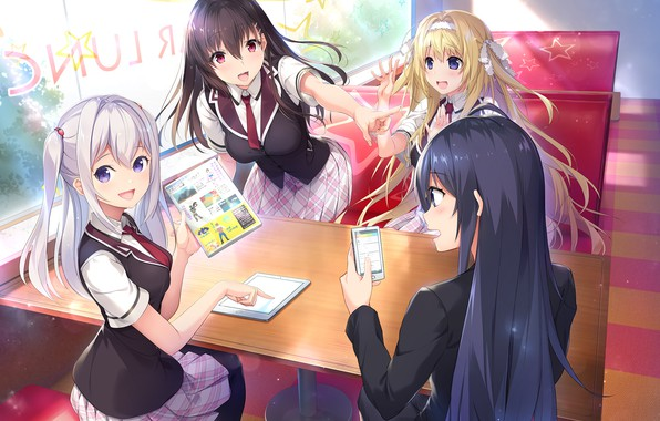 Picture the game, Girls, anime, phone, school uniform