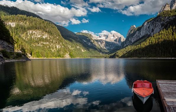 Picture mountains, lake, boat, Austria, Alps, Austria, Alps, Lake Gosau, Lake Gosau