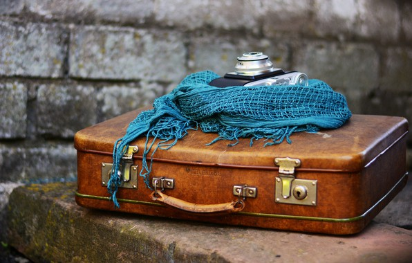 Picture blue, wall, things, scarf, the camera, suitcase, bricks, brown, composition, the camera