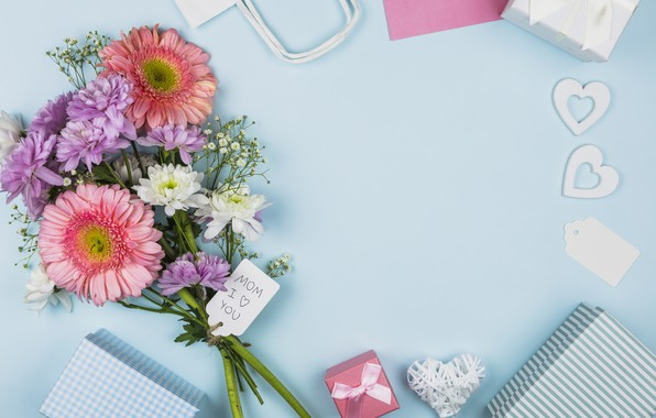Picture flowers, gifts, congratulations, composition