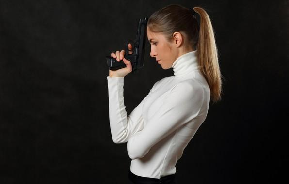 Picture gun, weapons, Girl, slim, beauty, waiting, killer