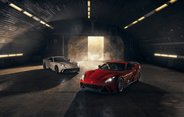 Picture light, machine, lights, gate, hangar, Ferrari, sports car, Superfast, 812, Novitec N-Largo