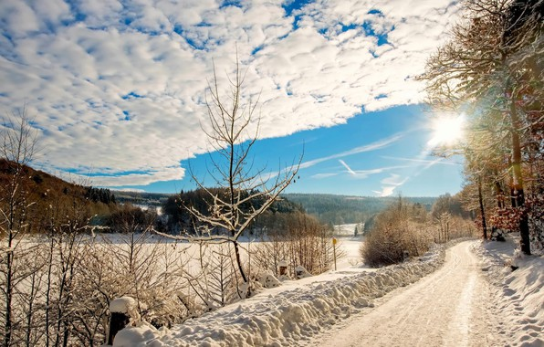 Picture winter, road, the sun, landscape, nature, beauty