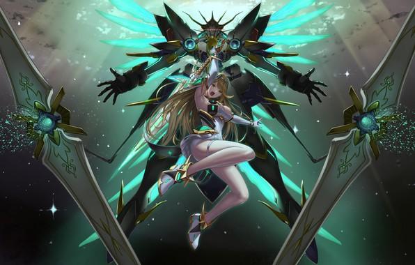 Picture girl, fantasy, game, cleavage, anime, mech, weapons, blonde, digital art, artwork, warrior, swords, fantasy art, …