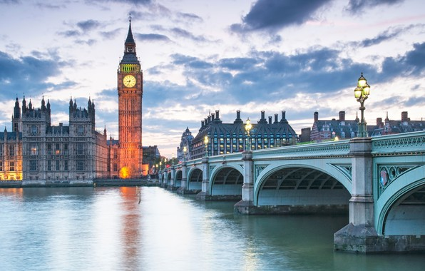 Picture the sky, clouds, bridge, lights, river, watch, England, London, tower, home, morning, lights, Thames, Big …