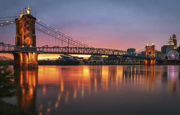 Picture reflections, Cincinnati, Roebling Suspension Bridge, Ohio River