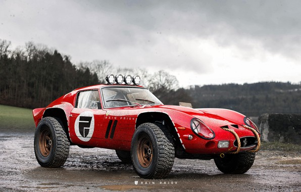 Picture Red, Machine, Tuning, Car, Render, SUV, Rendering, Concept Art, Ferrari 250 GTO, Rain Prisk, by …