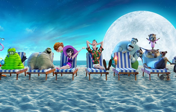 Picture sand, sea, beach, the sky, the moon, shore, cartoon, stars, horizon, poster, characters, sun loungers, ...