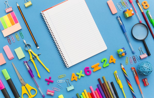 Picture pencils, handle, notebook, scissors, clip, eraser