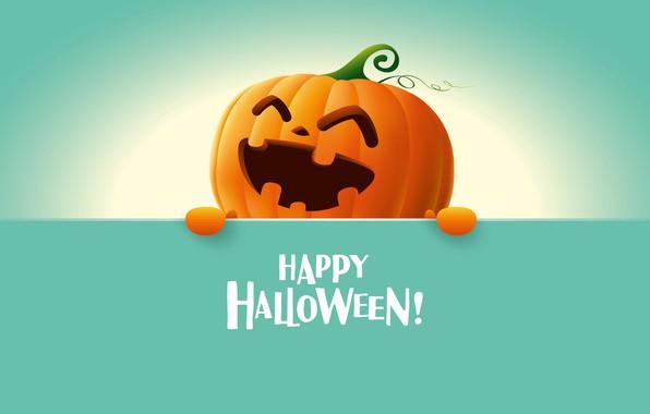 Picture Halloween, happy, holidays, minimalism, digital art, artwork, pumpkin, smiling, simple background