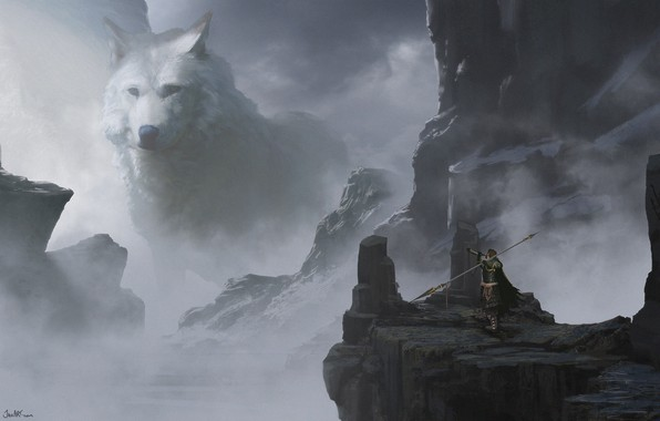 Picture weapons, warrior, spear, snowy mountains, weapon, art, snow, warrior, white wolf, montain, white wolf, Jake ...
