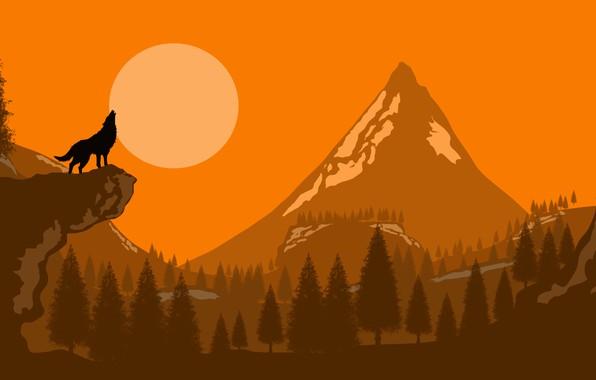 Picture moon, forest, trees, art, mountain, rocks, Wolf, digital art, artwork, silhouette, howling