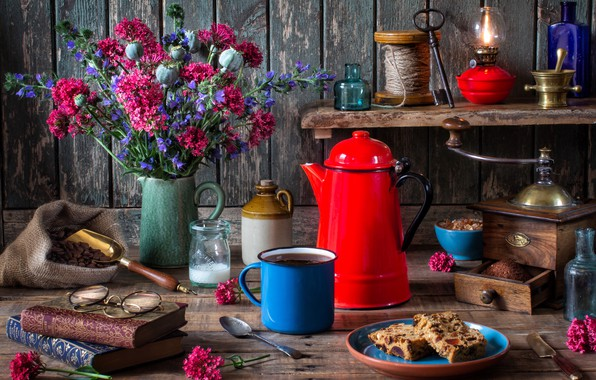 Picture flowers, style, books, coffee, bouquet, kettle, glasses, mug, still life, cupcake, coffee grinder, coffee pot