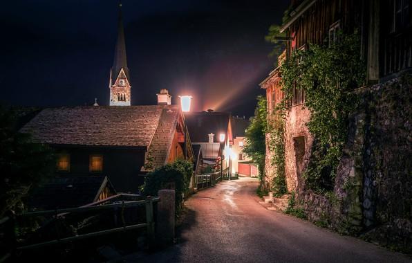 Picture night, street, home, Austria, lighting, lights, town, Hallstatt, Hallstatt, community