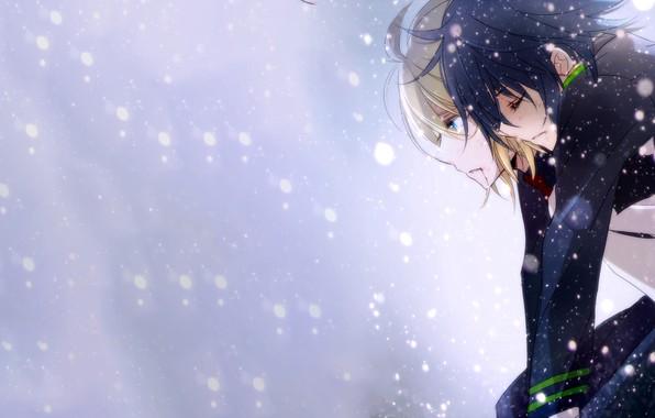 Picture snow, guys, Owari no Seraph, The last Seraphim, Yuichiro Hakua, Michaela Hakua