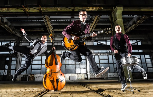 Picture guitar, group, cello, instrumento, trio, men, the room, drum, costumes, rock-n-roll, musicians, poses