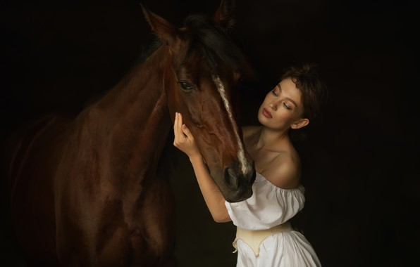 Picture girl, horse, friendship
