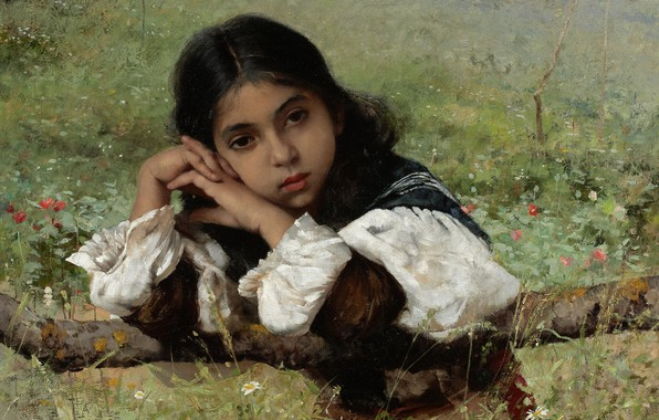 Picture 1882, American painter, American artist, Moments of reverie, Charles Sprague Pearce, Moments of Thoughtfulness, Charles …