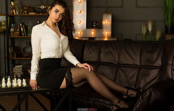 Picture girl, pose, sofa, feet, stockings, chess, on the table, Cyril Zakirov, Leah Khanafeeva