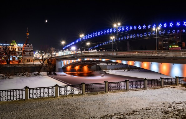 Picture photo, Home, Winter, Bridge, Night, The city, River, Russia, Garland, Omsk, Street lights, Omsk